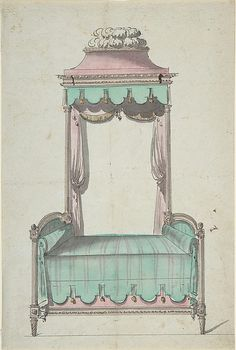 Design for a Bed and a Canopy,  Artist: Anonymous, French, 18th century Date: 18th century Medium: Pen and black ink, brush and brown and gray wash, watercolor