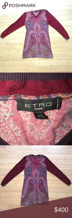 ETRO Wool Longsleeve Multicolored Top Size 48 ETRO Wool Longsleeve Multicolored Top Size 48 Made in Italy Color: Burgundy Size: 48, Large Excellent condition, incredible material. Etro Sweaters Crew & Scoop Necks