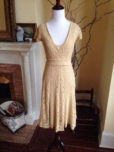 Moth Anthropologie Beige Sweater Lace Knit Dress Womens XS BOHO Crochet 0 2 #Moth #Dress #WeartoWork #anthropologie #crochet #crochetdress