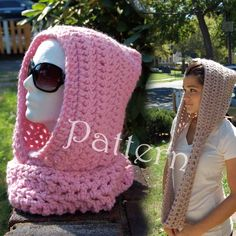 Wanna crochet me a scoodie? Crochet Hooded Scarf, Crochet Hoodie, Crochet Beanie, Crochet Scarves, Crochet Clothes, Knitted Hats, Knit Crochet, Basic Crochet Stitches, Easy Crochet Patterns