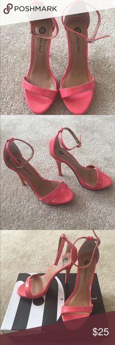Coral patent leather shoes Coral patent leather 4 1/2 inch heel sandals Shoes Heels