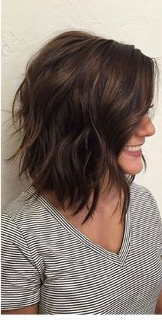Layered brunette lob
