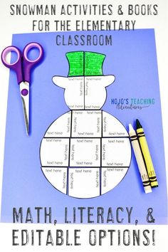 This blog post is full of great snowman ideas for the elementary classroom. Click through to see the math and literacy options, or create your own snowmen using the editable download template. Great for the 1st, 2nd, 3rd, 4th, 5th, or 6th grade classroom or homeschool. Kids love hands-on, engaging learning - and these puzzles and the great book suggestions allow them to do just that. Plus you also get to check out a fun bulletin board idea and FREE downloads!