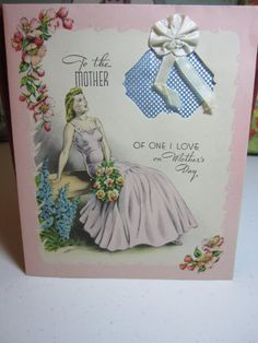 1940's art deco die cut mother's day card lady wearing
