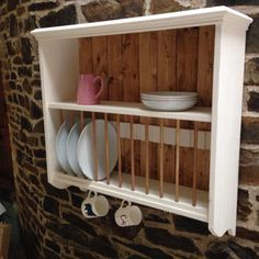 Wall mounted pine kitchen plate rack and shelf by JustOriginalsIn