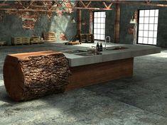 Oak and concrete kitchen BAUMSTAMMKÜCHE by WERKHAUS design Willi Bruckbauer