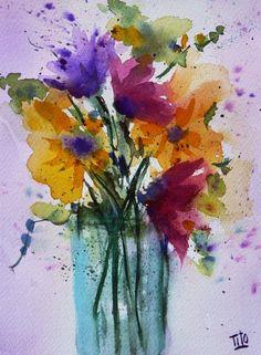 Tito Fornasiero (©2013 titofornasiero.com) Acquerello su carta. Watercolor on paper. Fantasia di fiori.