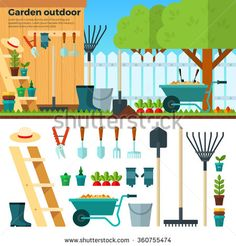 Concept of gardening. Tools for working in garden on white background. Banner with summer garden landscape in cartoon style. For website, mobile applications, banners, brochures, book covers, layouts