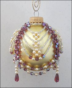 Instant PDF Download Tutorial:  Alice -  Amethyst & Pearl Beaded Christmas Ornament Cover 3