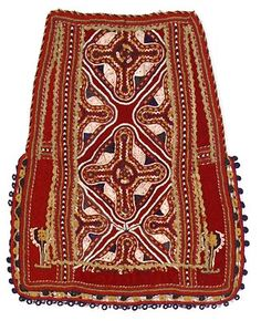 'Panaoula' (apron worn by Sarakatsani women), embroidered with magic-religious motifs in 'terzidika' technique, Athens, Museum of Greek Folk Art. Greek Traditional Dress, Traditional Clothes, Greek Costumes, Alexander The Great, Textile Jewelry, Folk Costume, Macedonia, Albania, Embroidery