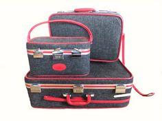 Vintage Skyway Luggage Tweed Gray and Red by VintageShoppingSpree, $235.00