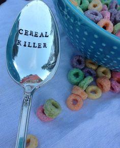 Cereal Killer Vintage Handstamped Spoon by OldsCoolDesigns