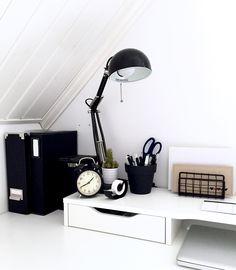 Minimalist black and white workspace. IKEA Alex desk inspiration.