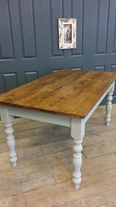 x Ex Display Farmhouse Table with 'Dark Oak' waxed top – Country Life Furniture - Quality Interiors Furniture, Rustic Farmhouse Table, Dining Room Small, Farmhouse Dining Chairs, Reclaimed Table, Dining Table, Table, Wood Prices, Rustic Dining Table