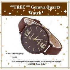 **FREE** Geneva Quarts Watch , Just pay shipping. Quartz Watch, Free Gifts, Watches, Wristwatches, Promotional Giveaways, Clocks
