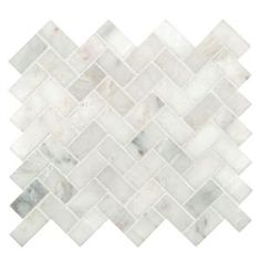Home Depot: MS International Arabescato Carrara Herringbone Pattern 12 in. x 12 in. x 10 mm Honed Marble Mesh-Mounted Mosaic Tile sq. / case)-SMOT-ARA-HBH - The Home Depot Bathroom Floor Tiles, Bathroom Renos, Wall Tiles, Tile Floor, Bathrooms, Bathroom Marble, Room Tiles, Bathroom Wall, Home Depot Bathroom Tile