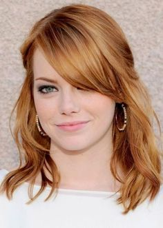 Pictures of strawberry blonde hairstyles hair cuts haircut ideas, hair colors, blonde hair Ginger Hair Color, Strawberry Blonde Hair Color, Blonde Color, Strawberry Hair, Cabelo Emma Stone, Emma Stone Hair, Emma Stone Bangs, Blond Hairstyles, Hair Blond