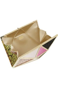 Jimmy Choo | Cairo elaphe, calf hair, satin and suede clutch | NET-A-PORTER.COM