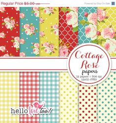 50% OFF Cottage Rose shabby chic digital paper set by hellolovetoo
