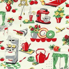 Vintage kitchen fabric - wouldn't this make wonderful curtains and tea towels? . . . I want this for a kitchen sink skirt!