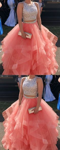 Sparkly Sequins Beaded Organza Layered Ball Gowns Prom Dresses Two Piece · SexyPromDress · Online Store Powered by Storenvy Prom Dresses Two Piece, Hoco Dresses, Sweet 16 Dresses, Beautiful Prom Dresses, Elegant Dresses, Pretty Dresses, Formal Dresses, Dress Prom, Two Piece Quinceanera Dresses