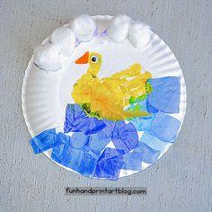 Creative Footprint Parrot And Hand Print Duck - Paper Plate Bird Crafts Fun Paper Plate Duck Craft: Made with a handprint and tissue paper Paper Plate Art, Paper Plate Crafts, Paper Crafting, Pond Crafts, Duck Crafts, Toddler Arts And Crafts, Crafts For Kids, Art Activities For Kids, Art For Kids