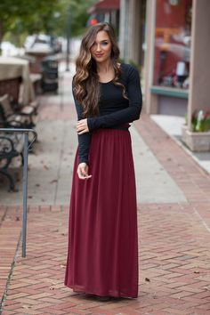 In the Spotlight Maroon Skirt – Dress Up Maroon Skirt Outfit, Long Skirt Outfits, Modest Outfits, Modest Clothing, Long Skirts, Shop Dress Up, Fashion Models, Fashion Outfits, Fashion Clothes