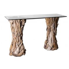 Henry Glass Top Console Table: Natural, Unfinished Teak Roots Sculpted Into  Sturdy Table Pedestals