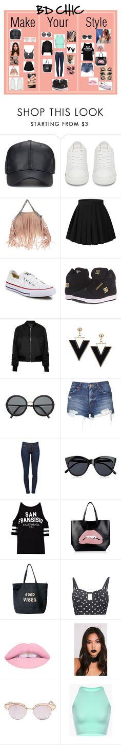 """BD CHIC Styles"" by brellad ❤ liked on Polyvore featuring STELLA McCARTNEY, Converse, DC Shoes, Topshop, H&M, Frame, Le Specs, RED Valentino, Venus and Dolce&Gabbana"