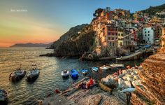 Photograph A Riomaggiore Sunset, Cinque Terre Italy by Dawid Martynowski on 500px