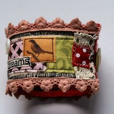 Fabric cuff - hodge podge with lace