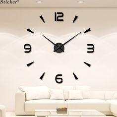 Fashion 3D big size mirror sticker wall clock home decor DIY acrylic mirror sticker tv wall clock living room meetting room-in Wall Clocks from Home & Garden on Aliexpress.com | Alibaba Group