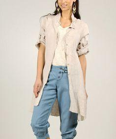 Look what I found on #zulily! Beige Linen Button-Up Jacket #zulilyfinds