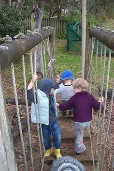 What about between fence and structure?let the children play: what does an indoor / outdoor preschool program look like? Natural Play Spaces, Outdoor Play Spaces, Indoor Outdoor, Preschool Playground, Kids Indoor Playground, Montessori Preschool, Playground Ideas, Kids Play Area, Children Play