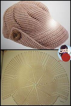 Crochet Cap, Crochet Shirt, Crochet Diagram, Embroidery Patterns Free, Knitting Patterns, Crochet Patterns, Youtube Crochet, Bracelet Crochet, Sombrero A Crochet