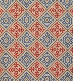 Diadorim Fabric by Lorca   Ref: MLF2240-02 Colour: Terracotta/Blue/Taupe £98 per metre   Jane Clayton