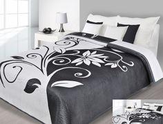 Modna narzuta dwustronna w kolorze białym z czarnym ornamentem