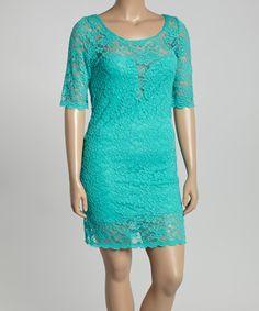 Teal Lace Sweetheart Neckline Bodycon Dress - Plus by Poliana Plus #zulily #zulilyfinds