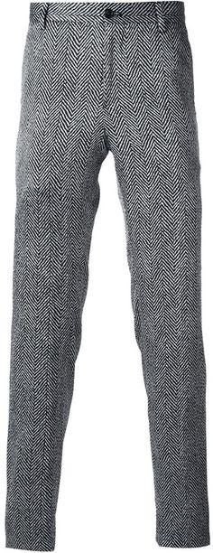 630cab89e208cb Grey Herringbone Wool Dress Pants by Giorgio Armani. Buy for  506 from  farfetch.com