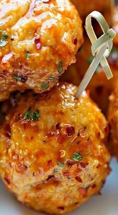 Can't wait to make again. Served as dinner w/ roasted vegetables. ~JKM Jan 2017 recipe without bread crumbs Firecracker Chicken Meatballs Recipe Chicken Meatball Recipes, Beef Recipes, Cooking Recipes, Healthy Recipes, Recipe Chicken, Cooking Tips, Finger Food Recipes, Spicy Chicken Marinades, Desert Recipes