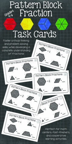Pattern block fraction task cards. Go beyond worksheets, procedures, and rules when teaching fractions. Engage your students while teaching fractions with depth and understanding. $