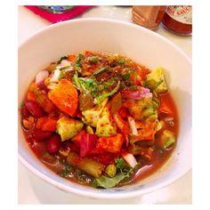 #VeganChili made with tomatoes, corn, green beans, bay leaf, carrots, lima beans, kale, parsley, mushrooms, onion, garlic, kidney beans, jalapeño, garbanzo beans, serrano pepper, cumin, chili powder, cayenne, maple syrup, salt and pepper, cinnamon, avocado and sweet potatoes. #Vegan #PlantBased