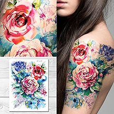 Amazon.com : Supperb Temporary Tattoos - Watercolor Painting Bouquet of Summer Flowers : Beauty