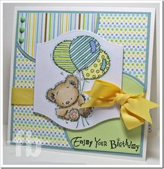 5 layers.  Pastel handmade teddy bear with balloons birthday card created by Frances Byrnes and also displayed on the Crazy 4 Challenges blog. I like the melding of the patterned papers and the paper piecing on the balloons.