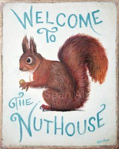 welcome back squirrel | Squirrel Sign Print Painting - Welcome to the Nut House by Sean Aherne