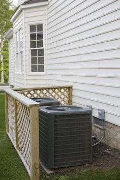 Air conditioner screens collect debris, such as leaves and dust, to prevent it from getting into the motor and causing damage. The screens are large and cover most of the sides of the air conditioner . Air Conditioner Cover Outdoor, Air Conditioner Screen, Outdoor Spaces, Outdoor Living, Outdoor Decor, Outdoor Ideas, Outdoor Stuff, Hide Ac Units, Ac Unit Cover