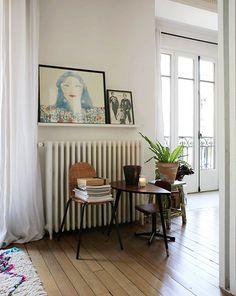 Kim, Paris 10ème - Inside Closet - French Living Room with Leaning Artwork on Ledge
