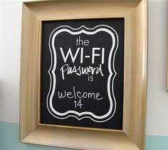 Framed chalkboard Wi-Fi password sign by Tatertots & Jello. Make It Now in Cricut Design Space