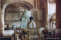 1984 Indian Army attack on the Sikh Golden Temple Complex in Amritsar, Punjab. Interior view of original Akal Takht prior to its destruction by the Indian Army. To learn more see the SikhMuseum.com Exhibit - Operation Bluestar