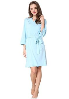 Godsen Women's Comfort Cotton Bathrobe Short Robes Sleepwear (XXL, Light Blue) - Brought to you by Avarsha.com